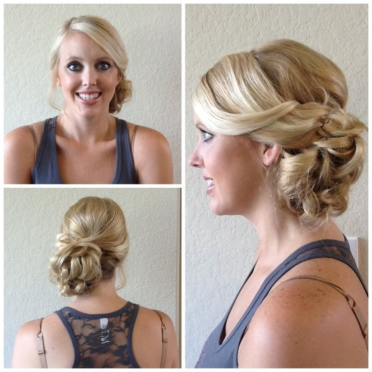 Displaying Gallery Of Curly Side Bun Wedding Hairstyles View 14 Of