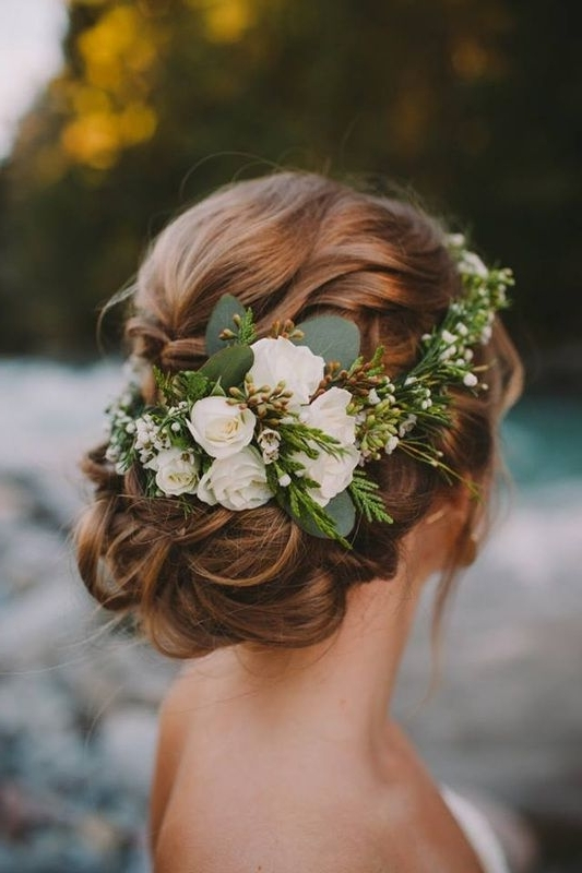Wedding Hairstyles | Pinterest | Brown Things, Confetti And Floral Throughout Wedding Hairstyles With Flowers (View 14 of 15)