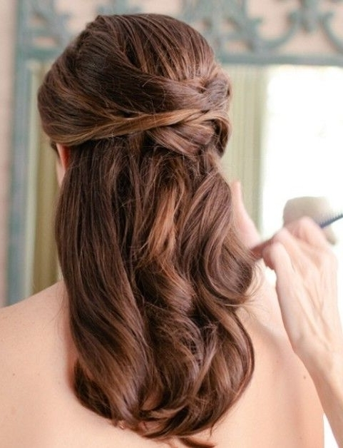 Wedding Hairstyles: Pretty Half Up Half Down | Pinterest | Mid With Wedding Half Up Hairstyles For Medium Length Hair (View 3 of 15)