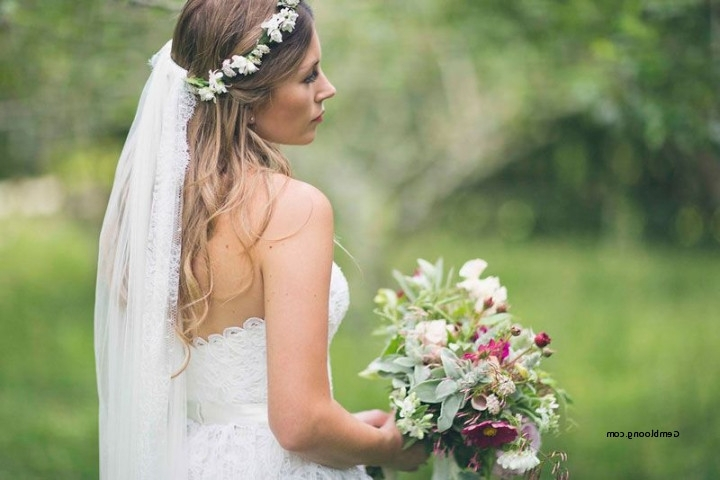 Wedding Hairstyles With Flowers And Veil Beautiful Flower Crown Half Intended For Wedding Hairstyles With Veil And Flower (View 2 of 15)
