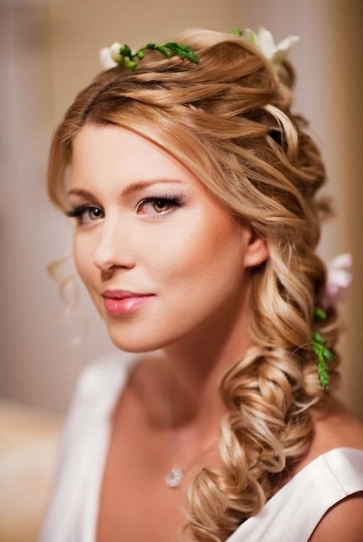 Wedding Loose Side Braided Hairstyles With Pink Flower Detail In Side Braid Wedding Hairstyles (View 14 of 15)