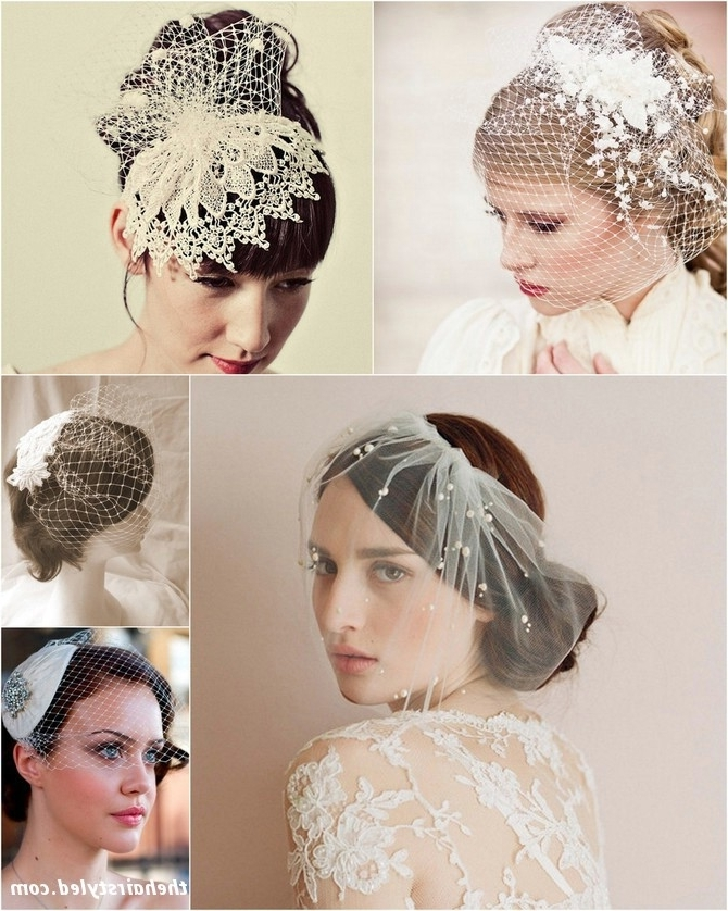 Wedding Updos Wit Different Types Of Veil | Hairstyles | Hair Photo Within Wedding Hairstyles For Short Hair With Birdcage Veil (View 5 of 15)