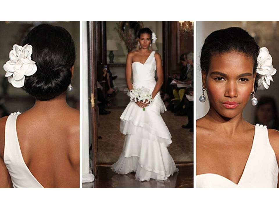 White One Shoulder 2011 Carolina Herrera Wedding Dress And White Inside Over One Shoulder Wedding Hairstyles (View 8 of 15)