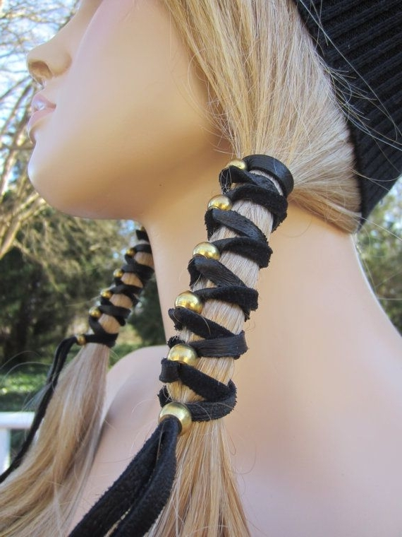 1 Black Leather Boho Headband Hair Wrap With Antique Brass Gold Regarding Most Popular Ponytail Wrapped In Copper Wire And Beads (View 10 of 15)