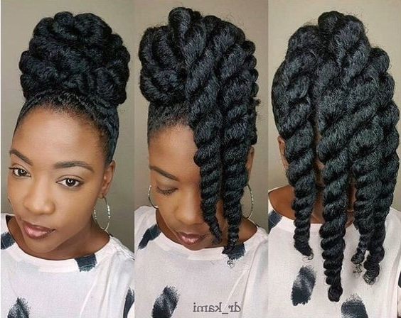 10 Beautiful & Natural Hair Updos Trending This Year Regarding Latest Big Updo Cornrows Hairstyles (View 11 of 15)