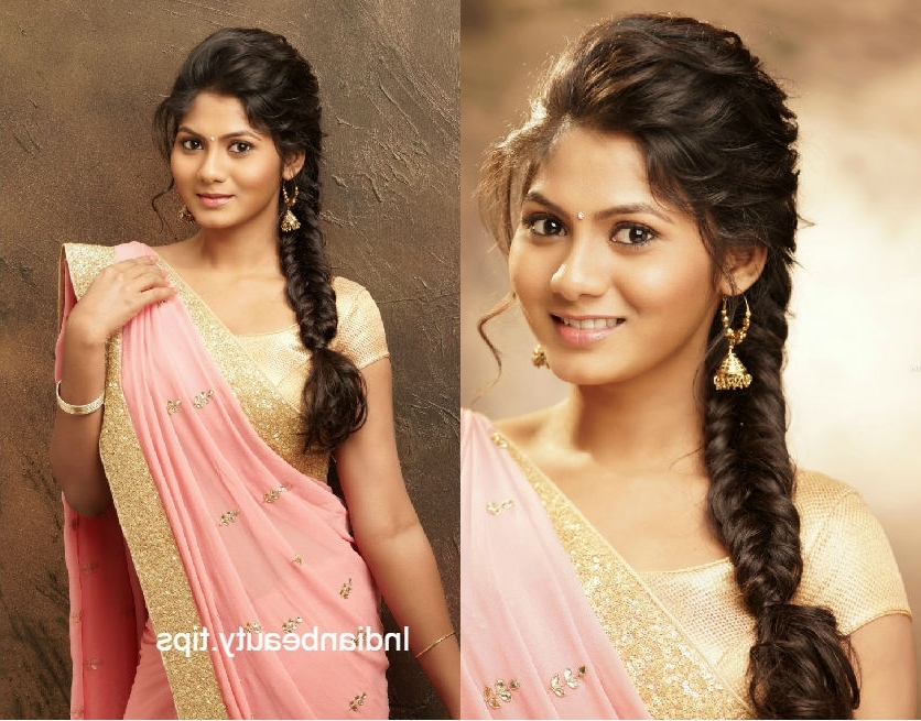 10 Elegant And Chic Hairstyles To Go With A Saree Pertaining To Newest Braided Hairstyles On Saree (View 7 of 15)