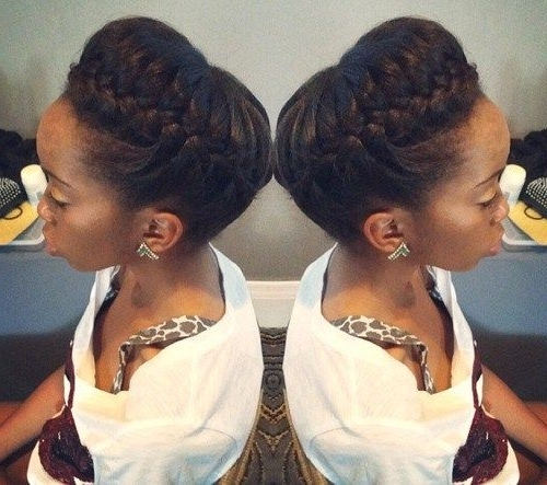 10 Gorgeous Photos Of French And Dutch Braid Updos On Natural Hair Pertaining To Latest Two French Braid Hairstyles With Flower (View 14 of 15)