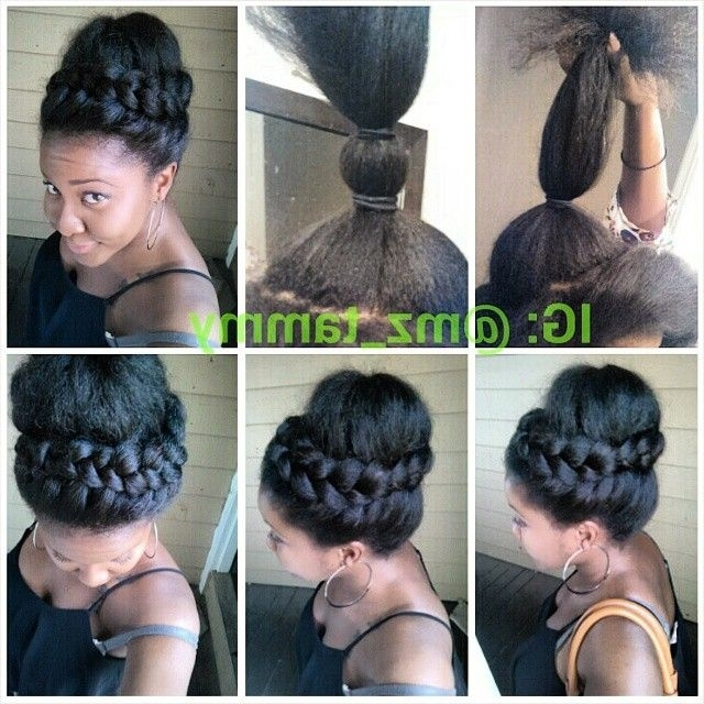 10 Gorgeous Photos Of French And Dutch Braid Updos On Natural Hair Pertaining To Recent French Braid Crown And Bun Updo (View 15 of 15)