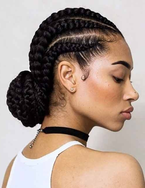 10 Gorgeous Ways To Style Your Ghana Braids Pertaining To Most Recently Ghana Braids Bun Hairstyles (View 7 of 15)