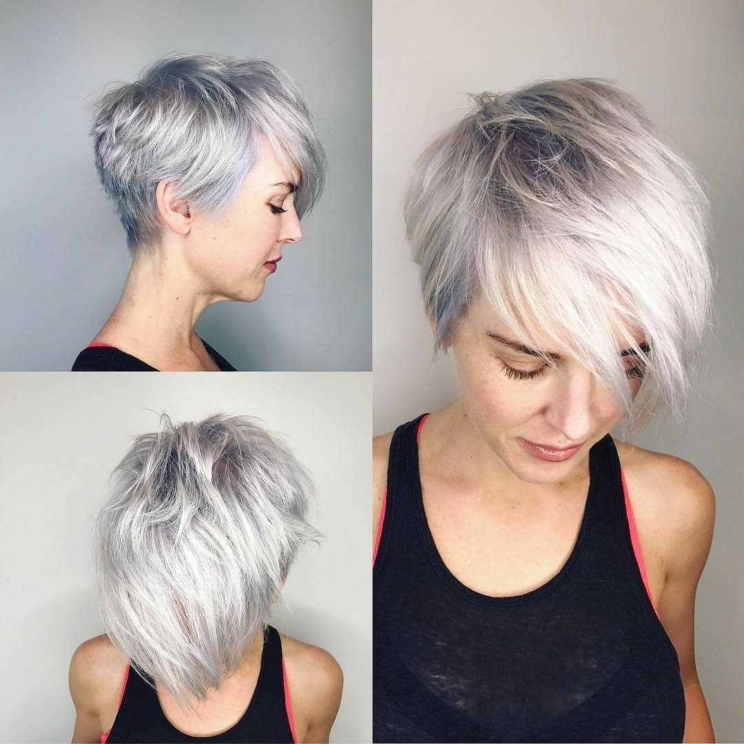10 Latest Short Haircut For Fine Hair 2018 & Stylish Short Hair Within Current Gray Blonde Pixie Haircuts (View 13 of 15)