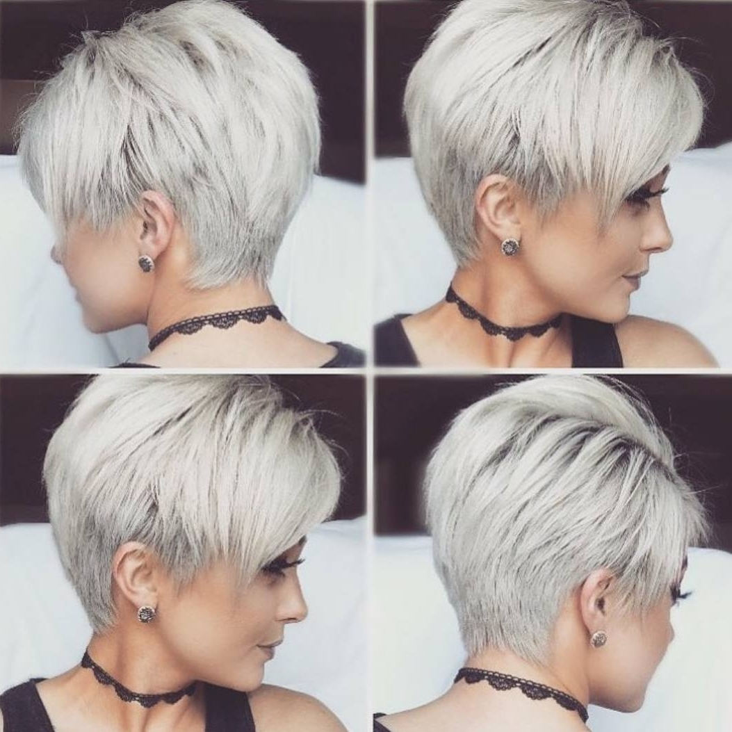 10 New Short Hairstyles For Thick Hair 2018, Women Haircut Ideas Within 2018 Gray Blonde Pixie Haircuts (View 9 of 15)