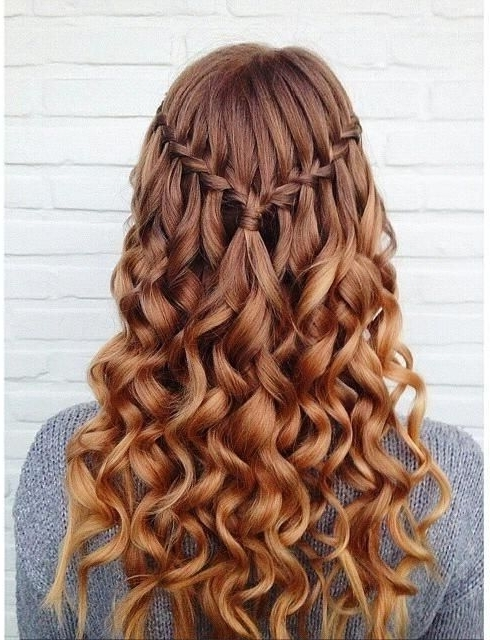 10 Pretty Waterfall French Braid Hairstyles | Hair | Pinterest Within Newest Braided Hairstyles On Curly Hair (View 9 of 15)