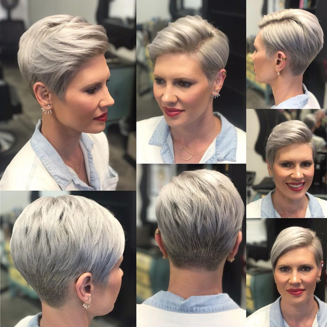 10 Short Hairstyles For Women Over 40 – Pixie Haircuts 2018 Pertaining To Recent Gray Blonde Pixie Haircuts (View 14 of 15)
