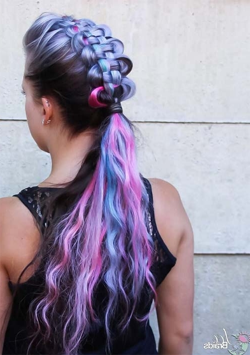 100 Ridiculously Awesome Braided Hairstyles To Inspire You With Most Popular Extra Long Blue Rainbow Braids Hairstyles (View 1 of 15)