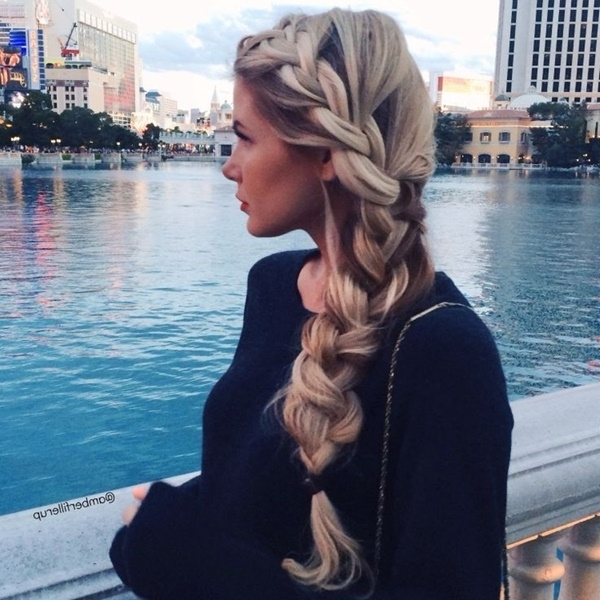 101 Romantic Braided Hairstyles For Long Hair And Medium Hair pertaining to Most Recently Chunky Two-French Braid Hairstyles