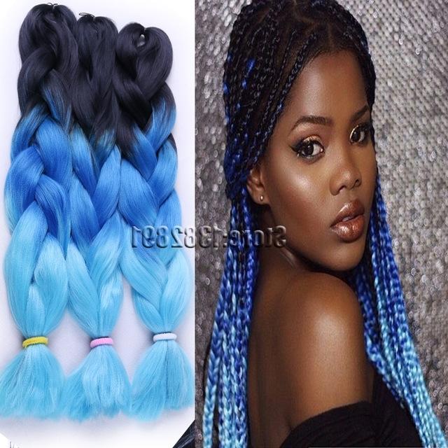 10Pcs/lot Ombre Jumbo Braiding Hair Crochet Braids 3 Tone Black T For Latest Purple Highlights In Black Braids (View 14 of 15)
