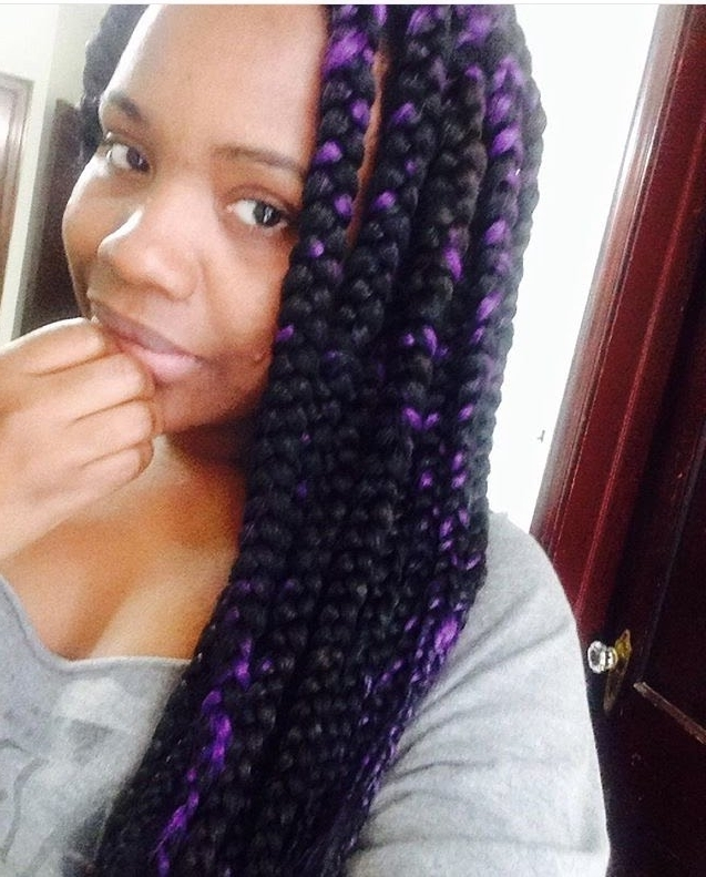 110| My Jumbo Box Braids With Purple Highlight (Protective Style Inside Recent Purple Highlights In Black Braids (View 3 of 15)