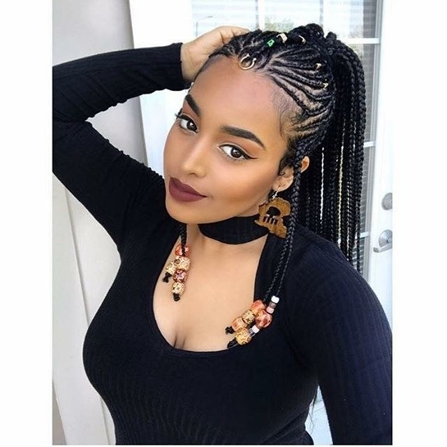 12 Gorgeous Braided Hairstyles With Beads From Instagram | Allure With Most Up To Date Cleopatra Style Natural Braids With Beads (View 2 of 15)