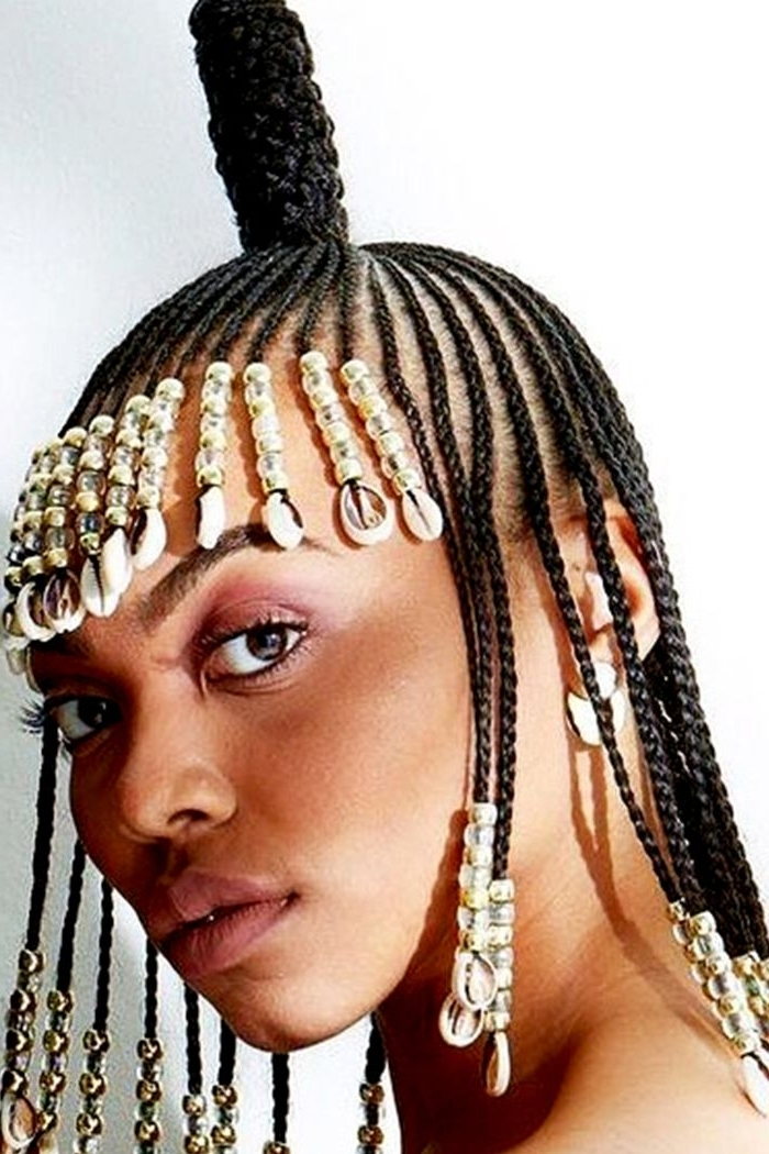 13 Beautiful Hairstyles With Beads You Have To See | Byrdie With Current Cornrows Hairstyles With Beads (View 3 of 15)