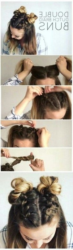 14 Bold & Unique Hairstyle Tutorials You Can Do At Home | Fryzury Throughout Most Recent Thin Double Braids With Bold Bow (View 5 of 15)