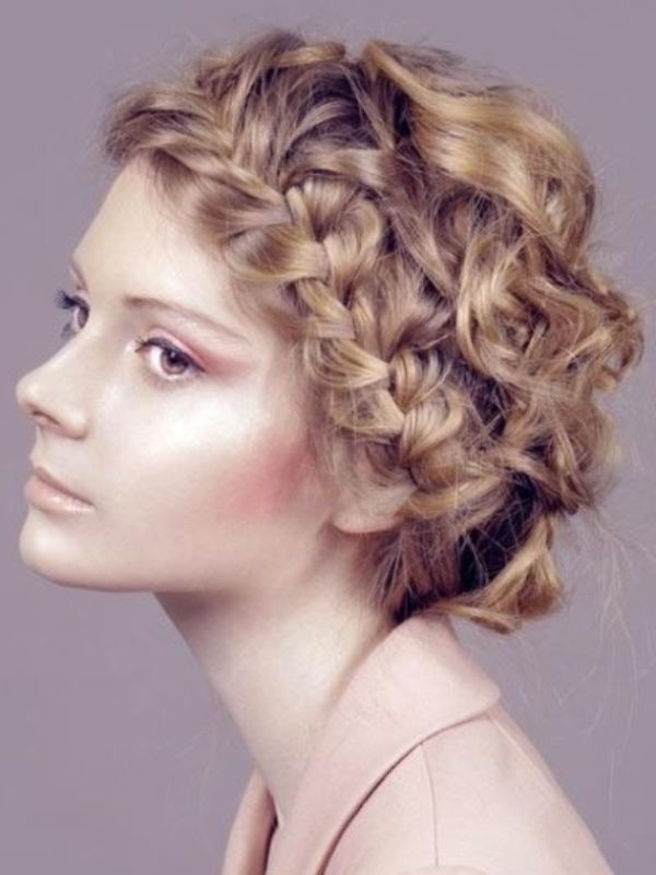 15 Easy Hairstyles For Short Curly Hair | Getmyhurrdid | Pinterest Inside Newest Braided Updo Hairstyle With Curls For Short Hair (View 11 of 15)