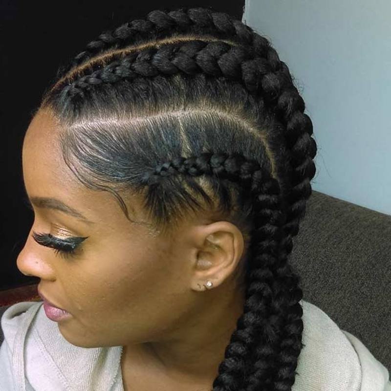15 Lovely Ghana Braids Styles – Updos, Cornrows, Jumbo, Ponytail Intended For Latest Braided Hairstyle With Jumbo French Braid (View 10 of 15)