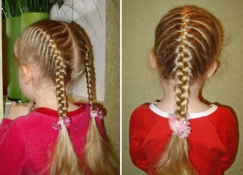 15 Simple French Braid Ponytails For Little Girls – Thewolfian Inside Recent Double French Braids And Ponytails (View 8 of 15)