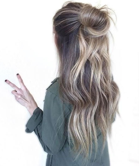 18 Messy Bun Long Blonde Hair – Blonde Hairstyles 2017 In Best And Newest Casual Bun With Highlights (View 11 of 15)