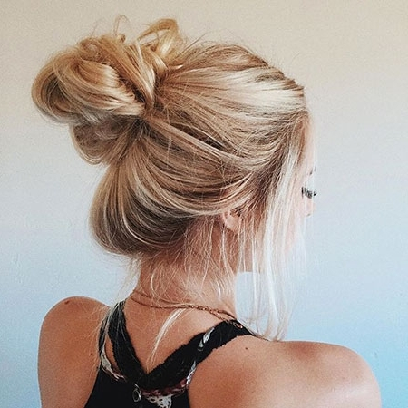18 Messy Bun Long Blonde Hair – Blonde Hairstyles 2017 With Most Recent Casual Bun With Highlights (View 6 of 15)