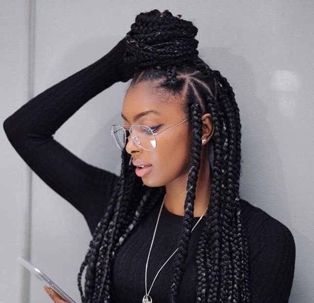 19 Looks That Prove Dookie Braids Are Here To Stay Pertaining To Most Popular Half Up Half Down Cornrows Hairstyles (View 9 of 15)