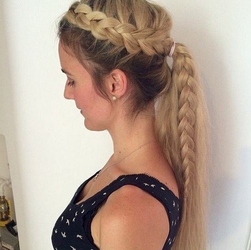 19 Pretty Ways To Try French Braid Ponytails – Pretty Designs Intended For Best And Newest Two Tone Braided Pony Hairstyles (View 1 of 15)
