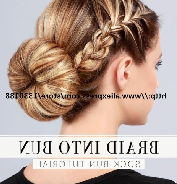 1Pc 30G Top10 Chignon Bun Hairstyle Tutorials For Summer Braid Into For 2018 Braid Into Sock Bun (View 12 of 15)