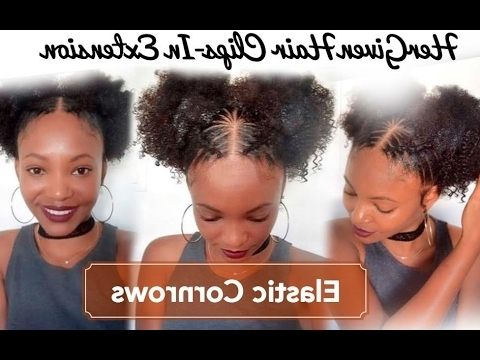 2 Pompons Elastic Cornrows Natural Hair Style – Hellow Naturalbeauty Within Recent Elastic Cornrows Hairstyles (View 3 of 15)
