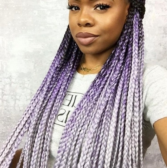 20 Aristocratic Purple & Grey Box Braid Styles – Hairstylecamp For Most Up To Date Purple Highlights In Black Braids (View 13 of 15)
