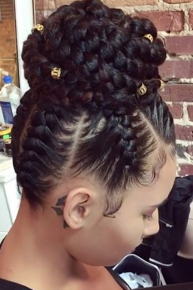 20 Braided Prom Hairstyles Fit For A Queen Black Hair Braided Bun For Most Recent Black Braided Bun Updo (View 13 of 15)