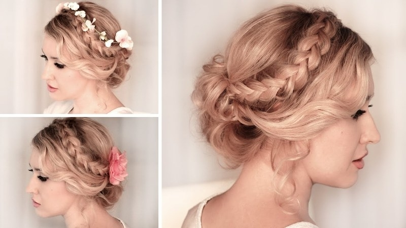 20 Chic Bridesmaid Hairstyles For Medium Length Hair | New Love Times Regarding Most Up To Date Braided Hairstyles Up Into A Bun (View 8 of 15)