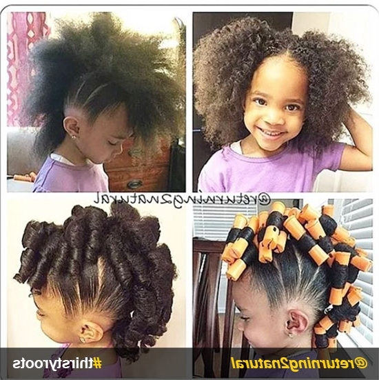 20 Cute Natural Hairstyles For Little Girls Regarding 2018 Crossed Twists And Afro Puff Pony (View 7 of 15)