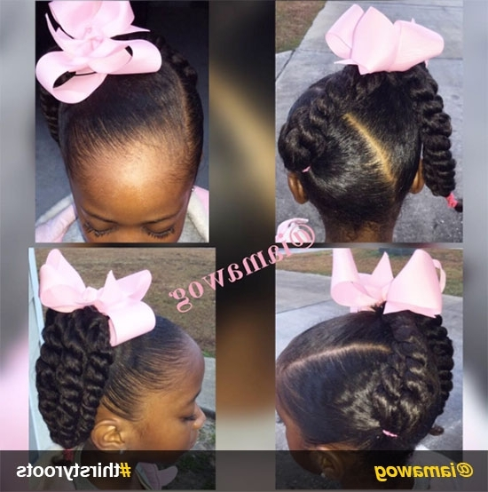 20 Cute Natural Hairstyles For Little Girls Regarding Latest Crossed Twists And Afro Puff Pony (View 8 of 15)