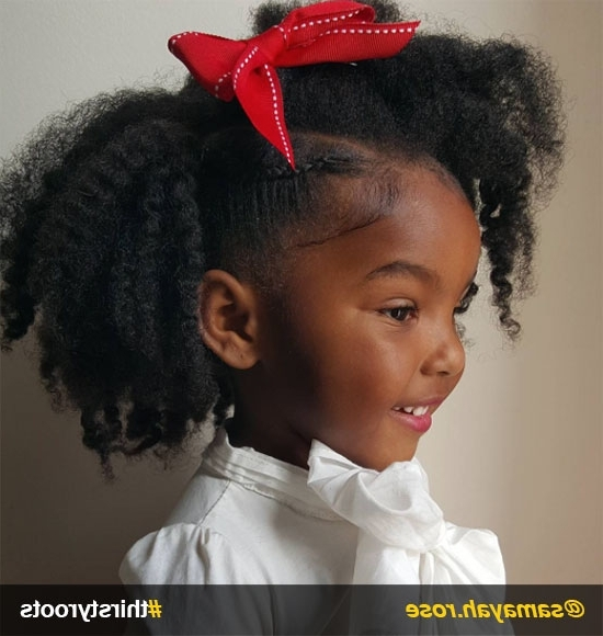 20 Cute Natural Hairstyles For Little Girls Regarding Newest Crossed Twists And Afro Puff Pony (View 9 of 15)