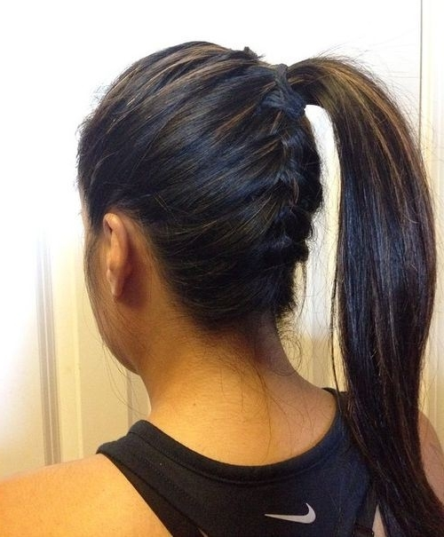 20 Easy French Braid Ponytails You May Want To Copy – Hairstyles Weekly Intended For Latest Asymmetrical Braids With Curly Pony (View 11 of 15)