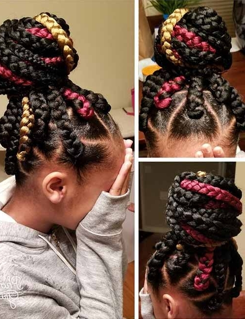 20 Funky Fresh Styling Ideas For Jumbo Box Braids Within Most Recent Ponytail Braids With Quirky Hair Accessory (View 9 of 15)