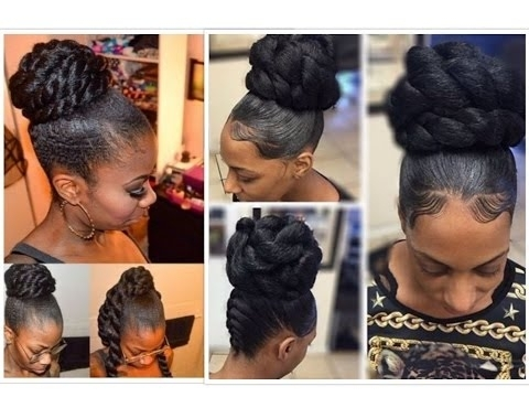 20 Glamorous Bun Hairstyles With Kanekalon Hair – Youtube With Best And Newest Mixed Braid Updo For Black Hair (View 9 of 15)