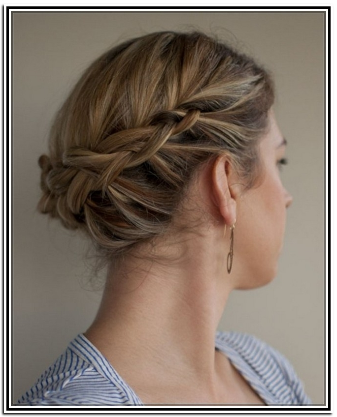 20 Great Updo Styles For Short Hair | Styles Weekly Regarding Latest Braided Updo Hairstyles For Short Hair (View 9 of 15)