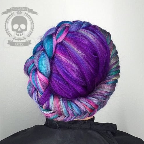 2018 Crown Braid For Purple Crimped Hair Pertaining To Recent Crimped Crown Braids (View 15 of 15)
