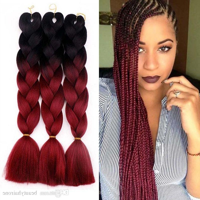 2018 Ombre 2 Tone Jumbo Braids Synthetic Hair Extensions 24 Inches Regarding Most Current Two Tone Braided Pony Hairstyles (View 10 of 15)
