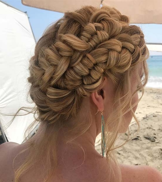 21 Beautiful Braided Updo Ideas For Holidays | Stayglam Regarding Most Recent Large Braided Updos (View 6 of 15)