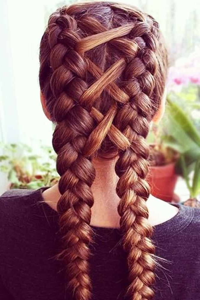 24 Cute Double Dutch Braids Ideas | Everyday Hairstyles | Pinterest With Most Popular Romantic Curly And Messy Two French Braids Hairstyles (View 6 of 15)