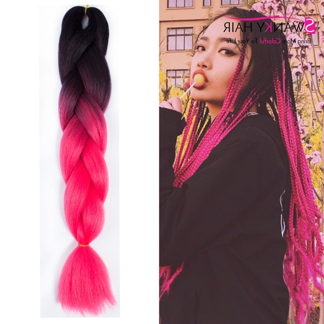 24 Inch Ombre Kanekalon Hair Extensions Jumbo Braiding Hair Within Most Recent Braided Hairstyles With Fake Hair (View 3 of 15)