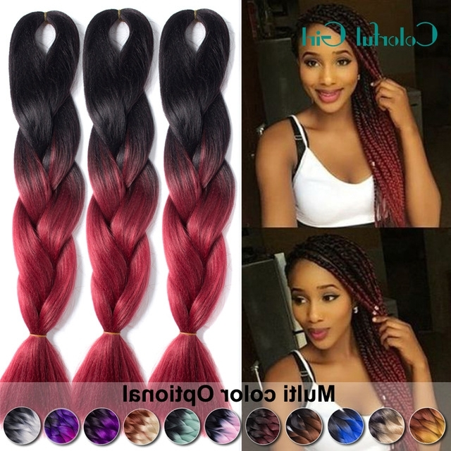 """24"""" Kanekalon Braiding Hair Colors Auburn/burgundy/blonde Freetress Inside Most Up To Date Braided Hairstyles With Color (View 15 of 15)"""