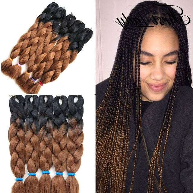 24Inch Crochet Braid Hair Senegalese Twist Box Braids Hair Ombre Two Within Recent Braided Hairstyles With Color (View 4 of 15)